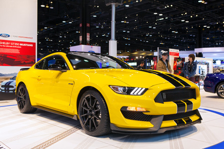 mustang gt: Chicago - February 13: A Ford Mustang Shelby Cobra 350GT on display February 13th, 2015 at the 2015 Chicago Auto Show in Chicago, Illinois. Editorial