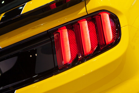 Chicago - February 13: A brake light on Ford Mustang 350GT February 13th, 2015 at the 2015 Chicago Auto Show in Chicago, Illinois. Editöryel