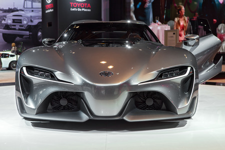 Chicago - February 13:Front view of the Toyota FT-1 concept vehicle February 13th, 2015 at the 2015 Chicago Auto Show in Chicago, Illinois.