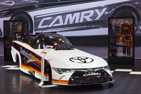 dragster: Chicago - February 13: the Toyota Camry dragster Kentucky Thunder on display February 13th, 2015 at the 2015 Chicago Auto Show in Chicago, Illinois.