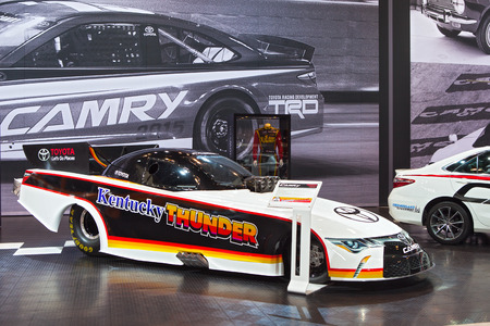 Chicago - February 13: the Toyota Camry dragster Kentucky Thunder on display February 13th, 2015 at the 2015 Chicago Auto Show in Chicago, Illinois.