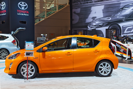 Chicago - February 13: A Toyota Prius C on display February 13th, 2015 at the 2015 Chicago Auto Show in Chicago, Illinois.