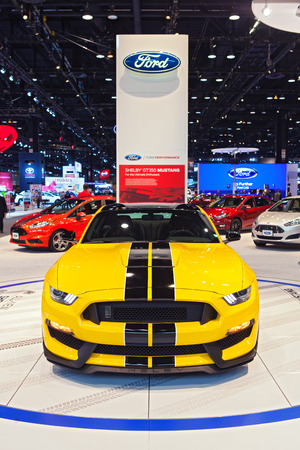 Chicago - February 13: A Ford Mustang Shelby Cobra 350GT on display February 13th, 2015 at the 2015 Chicago Auto Show in Chicago, Illinois. Editöryel