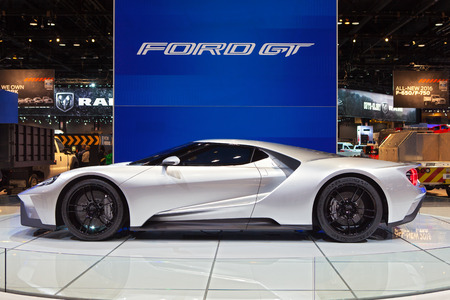 Chicago - February 13: A Ford GT supercar on display February 13th, 2015 at the 2015 Chicago Auto Show in Chicago, Illinois.