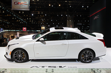 Chicago - February 13: A Cadillac ATS-V Coupe on display February 13th, 2015 at the 2015 Chicago Auto Show in Chicago, Illinois.