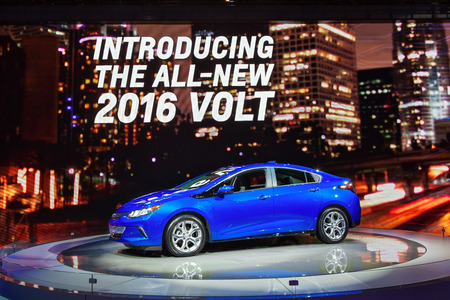 chevy: Chicago - February 13: A new Chevy Volt on display February 13th, 2015 at the 2015 Chicago Auto Show in Chicago, Illinois.