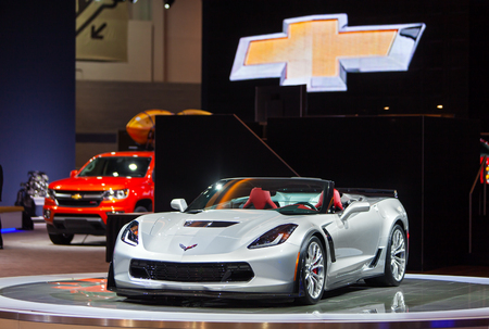 Chicago - February 12: A Chevrolet Corvette convertible on display February 12th, 2015 at the 2015 Chicago Auto Show in Chicago, Illinois. Editöryel
