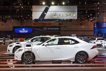 lexus: Chicago - February 12: The Lexus display February 12th, 2015 at the 2015 Chicago Auto Show in Chicago, Illinois.