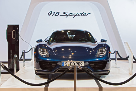 Chicago - February 12: A {prsche 918 Spyder on display February 12th, 2015 at the 2015 Chicago Auto Show in Chicago, Illinois.