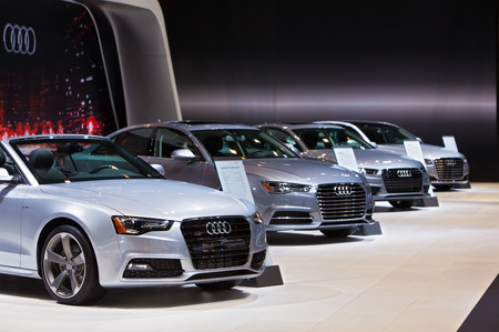 Chicago - February 12: A row of Audis on display February 12th, 2015 at the 2015 Chicago Auto Show in Chicago, Illinois. Editöryel