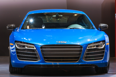 Chicago - February 12: A front view of the Audi R8 February 12th, 2015 at the 2015 Chicago Auto Show in Chicago, Illinois.