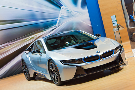 petrol powered: Chicago - February 12: A BMW i8 electric car on display February 12th, 2015 at the 2015 Chicago Auto Show in Chicago, Illinois. Editorial