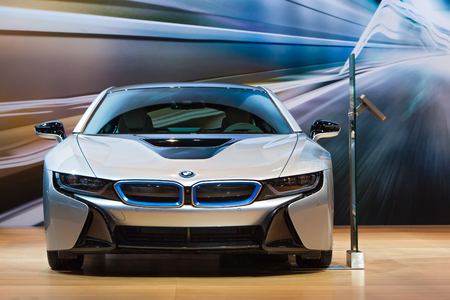 Chicago - February 12: A front view of the BMW i8 February 12th, 2015 at the 2015 Chicago Auto Show in Chicago, Illinois.
