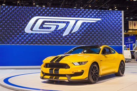 mustang gt: Chicago - February 12: A Ford Mustang GT350 on display February 12th, 2015 at the 2015 Chicago Auto Show in Chicago, Illinois. Editorial