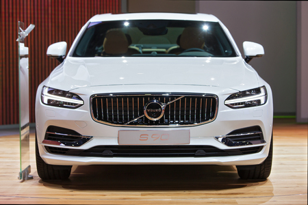 american media: DETROIT - JANUARY 13: The Volvo s90 on display at the North American International Auto Show media preview January 13, 2016 in Detroit, Michigan.