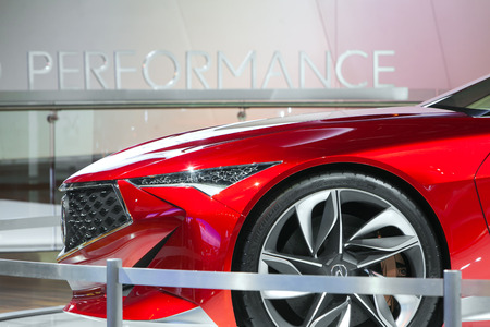 acura: DETROIT - JANUARY 13 : The Acura Concept Vehicle on display at the North American International Auto Show media preview January 13, 2016 in Detroit, Michigan.