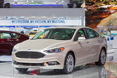 DETROIT - JANUARY 13: The 2017 Ford Fusion on display at the North American International Auto Show media preview January 13, 2016 in Detroit, Michigan.