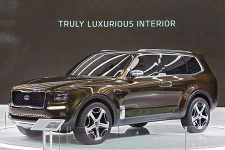 DETROIT - JANUARY 13: The Kia Telluride concept vehicle on display at the North American International Auto Show media preview January 13, 2016 in Detroit, Michigan.