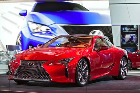 lfa: DETROIT - JANUARY 13: The Lexus LFA on display at the North American International Auto Show media preview January 13, 2016 in Detroit, Michigan. Editorial