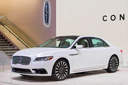 american media: DETROIT - JANUARY 13 : The 2017 Lincoln Continental on display at the North American International Auto Show media preview January 13, 2016 in Detroit, Michigan.