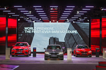 american media: DETROIT - JANUARY 13: The BMW 2 Series on display at the North American International Auto Show media preview January 13, 2016 in Detroit, Michigan.