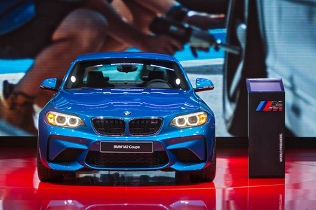 american media: DETROIT - JANUARY 13: The World premiere of the BMW M2 Coupe at the North American International Auto Show media preview January 13, 2016 in Detroit, Michigan. Editorial