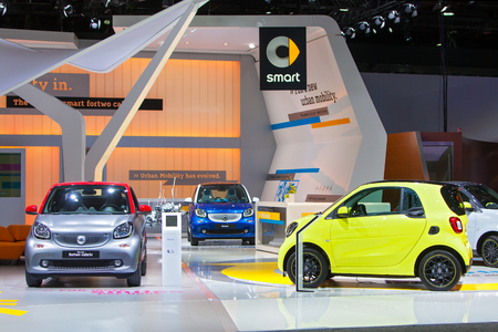 DETROIT - JANUARY 13: The Smart car display at the North American International Auto Show media preview January 13, 2016 in Detroit, Michigan.