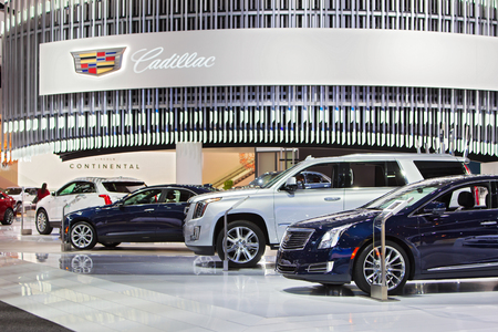 DETROIT - JANUARY 13: The Cadillac display at the North American International Auto Show media preview January 13, 2016 in Detroit, Michigan.