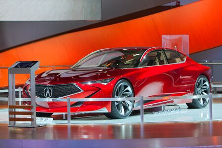 acura: DETROIT - JANUARY 13: The Acura Precision concept on display at the North American International Auto Show media preview January 13, 2016 in Detroit, Michigan. Editorial