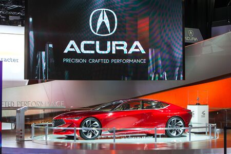 acura: DETROIT - JANUARY 13: An Acura concept vehicle on display at the North American International Auto Show media preview January 13, 2016 in Detroit, Michigan. Editorial