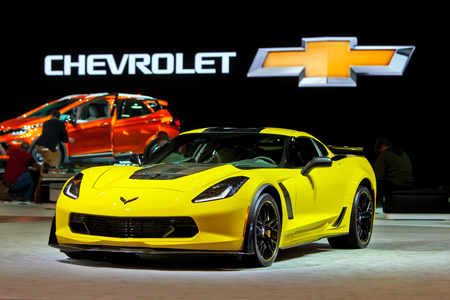 american media: DETROIT - JANUARY 13: The 2016 Corvette Z06 on display at the North American International Auto Show media preview January 13, 2016 in Detroit, Michigan.