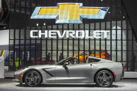 corvette: DETROIT - JANUARY 13 : The 2016 Corvette Stingray Convertible on display at the North American International Auto Show media preview January 13, 2016 in Detroit, Michigan. Editorial