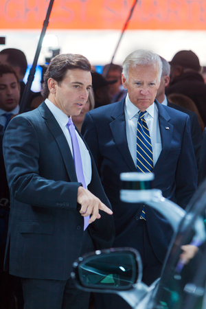 DETROIT - JANUARY 10: Ford CEO Mark Fields talks with Vice President Joe Biden at the North American International Auto Show media preview January 10, 2017 in Detroit, Michigan. Editorial