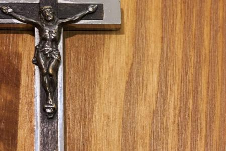 Crucifix frame in wood photo