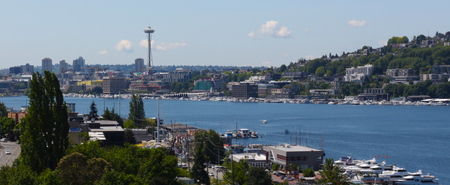 Seattle skyline over Lake Union with view of Space Needle
