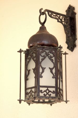 arabic style: The old lantern hanging on a wall