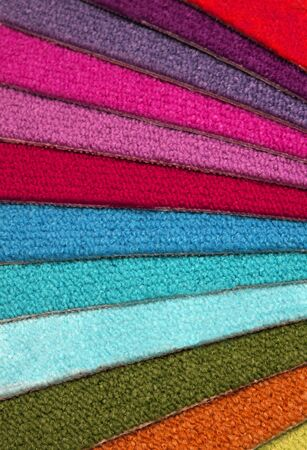 coverings: Samples of carpet coverings on a white background