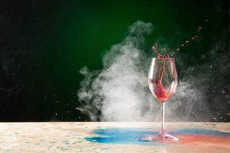 Wine Glass Splatter with Smoke