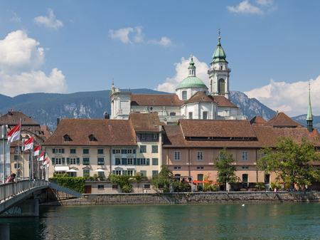 Solothurn cityscape with St  Ursus Cathedral Stock fotó