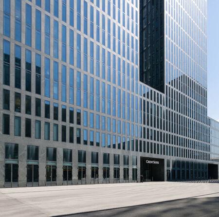 Zurich, Switzerland - April 16, 2014  Credit Suisse building in Zurich Oerlikon