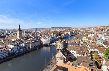Zurich, Switzerland - view from the Great Minster cathedral tower photo