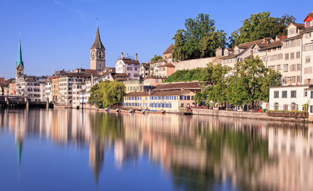Zurich Switzerland  view on the Limmat river in a summertime morning. Long exposure time picture.