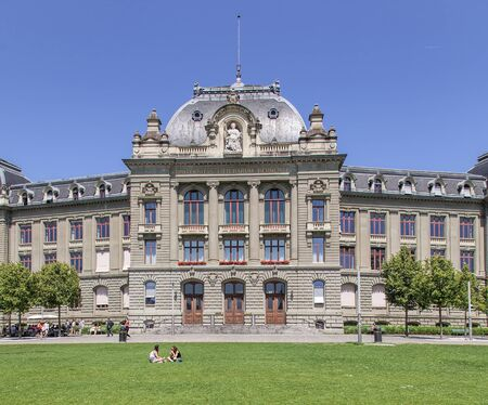 financed: Bern, Switzerland - 11 June, 2014: University of Bern building facade. The University of Bern is a university in the Swiss capital of Bern, founded in 1834, regulated and financed by the Canton of Bern. Editorial