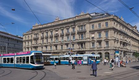zurich: Zurich Switzerland 14 May 2015: view on the Paradeplatz square. Zurich is the largest city in Switzerland and the capital of the Canton of Zurich.