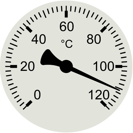 high scale: Vector illustration of a water thermometer with scale in Celsius degrees indicating high temperature.