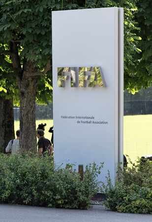 stele: Zurich Switzerland  3 June 2015: stele at the entrance of the FIFA headquarter. FIFA is the international governing body of association football soccer futsal and beach soccer.