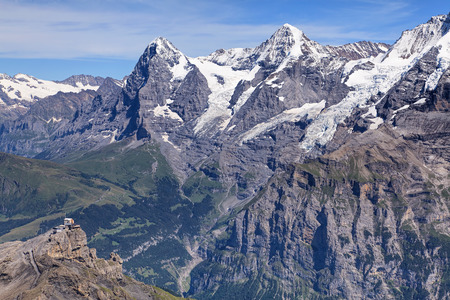 swiss alps: View from Mount Schilthorn in the Swiss Alps. Stock Photo