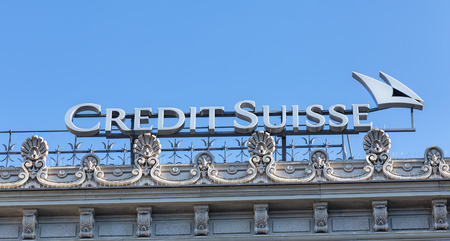 top 7: Zurich Switzerland  7 June 2015: Credit Suisse logotype on the top of the Credit Suisse building on the Paradeplatz square. Credit Suisse Group is a Switzerlandbased multinational financial services holding company headquartered in Zurich.