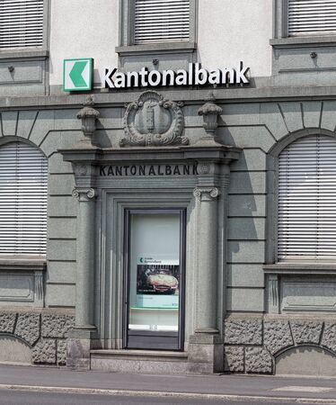 german swiss: Rapperwil Switzerland  12 June 2015: St. Galler cantonal bank office. Cantonal banks German: Kantonalbank are Swiss governmentowned commercial banks which are provided with a guarantee for the assets held there by the canton in which they are based.