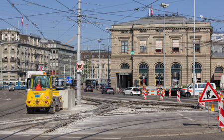 road works: Zurich Switzerland  3 June 2015: road works on the Bahnhofquai quay. Zurich is the largest city in Switzerland and the capital of the canton of Zurich.